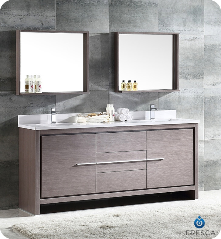 Fresca Allier 72  Gray Oak Modern Double Sink Bathroom Vanity w Mirror Vanities Buy Furniture Cabinets RGM